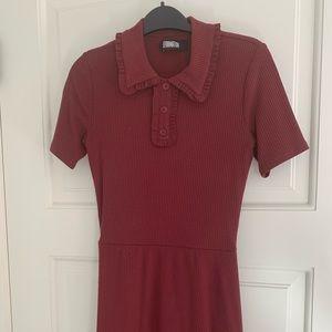 Reformation short sleeve burgundy dress